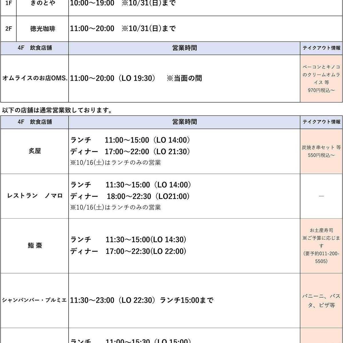 【10/15(金)~営業時間変更店舗のご案内】